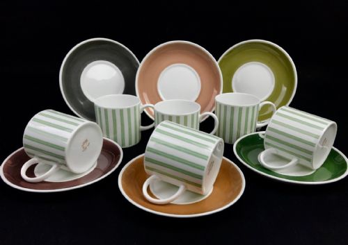 Susie Cooper Vintage Coffee Cup And Saucer Set For 6 / Harlequin / Colourful